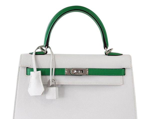 Hermes Kelly Sellier HSS 25 White Epsom Palladium excellent handles
