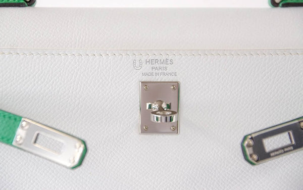 Hermes Kelly Sellier HSS 25 White Epsom Palladium excellent embossing
