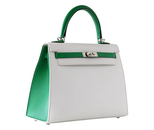 Hermes Kelly Sellier HSS 25 White Epsom Palladium excellent side left
