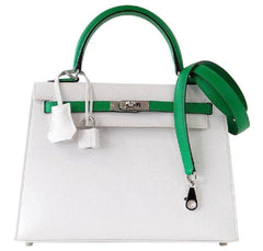 Hermes Kelly Sellier HSS 25 White Epsom Palladium excellent front