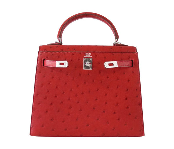 Hermes Kelly Sellier 25 Rouge Ostrich Palladium pristine front open