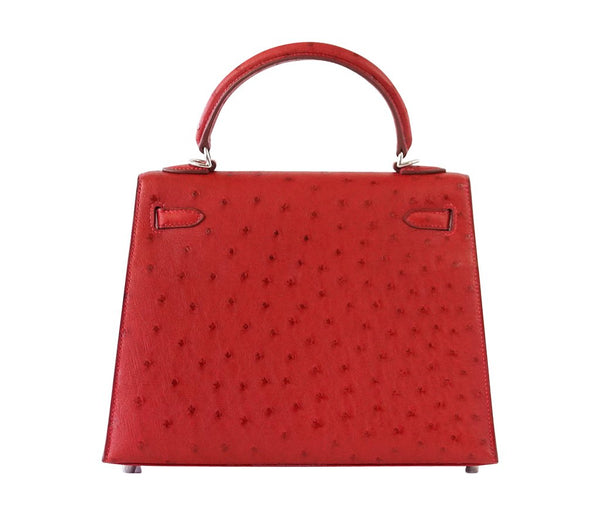 Hermes Kelly Sellier 25 Rouge Ostrich Palladium pristine back