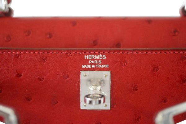 Hermes Kelly Sellier 25 Rouge Ostrich Palladium pristine embossing
