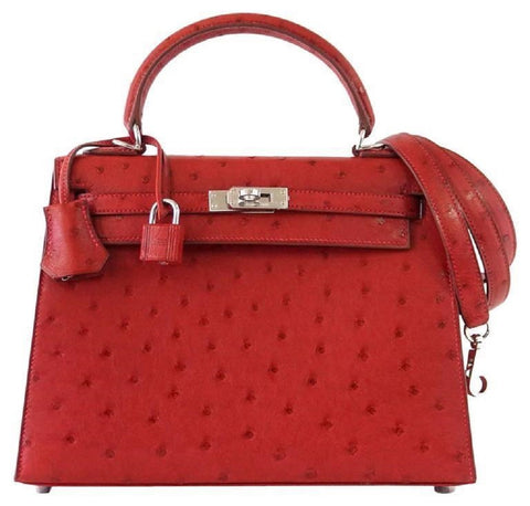 Hermes Kelly Sellier 25 Rouge Ostrich Palladium pristine front