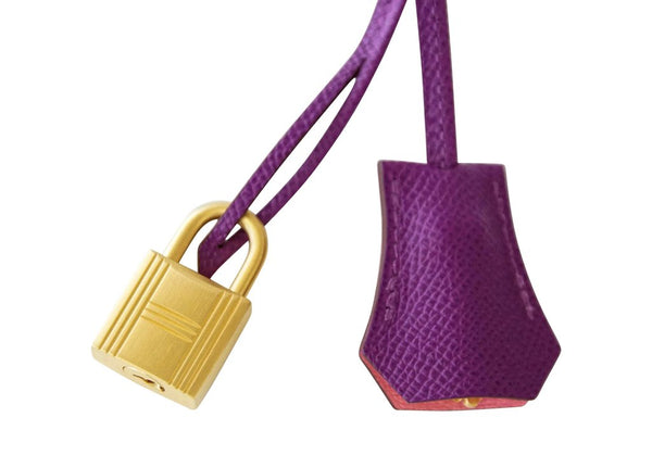 Hermès Kelly HSS 28 Two-Tone Anemone Rose Confetti brushed gold pristine lock keys clochette