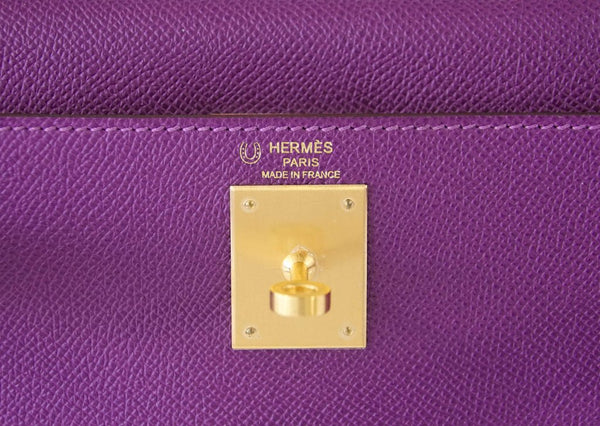 Hermès Kelly HSS 28 Two-Tone Anemone Rose Confetti brushed gold pristine embossing
