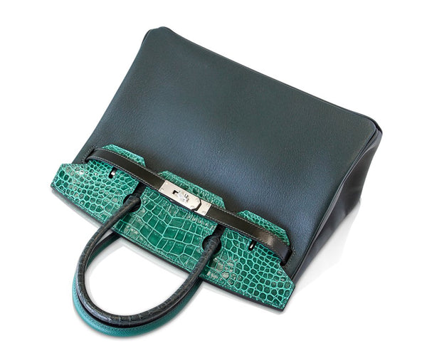 Hermes Birkin 30 Patchwork Vert Crocodile Limited Edition Palladium pristine above front
