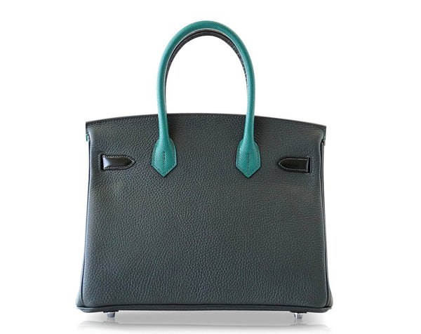 Hermes Birkin 30 Patchwork Vert Crocodile Limited Edition Palladium pristine back