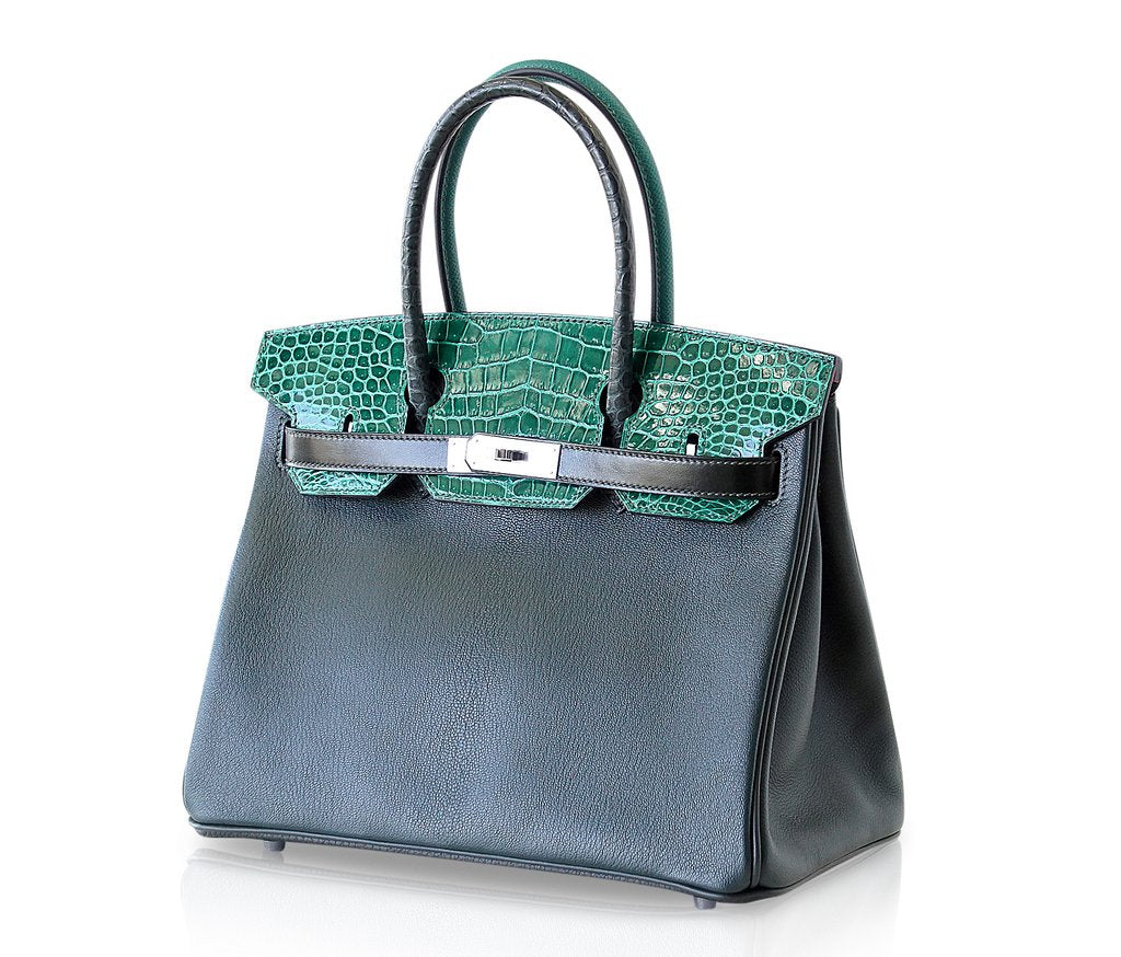 10a21f3d04db33 ... Hermes Birkin 30 Patchwork Vert Crocodile Limited Edition Palladium  pristine front side right ...