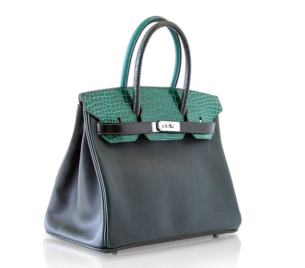 Hermes Birkin 30 Patchwork Vert Crocodile Limited Edition Palladium pristine front side left
