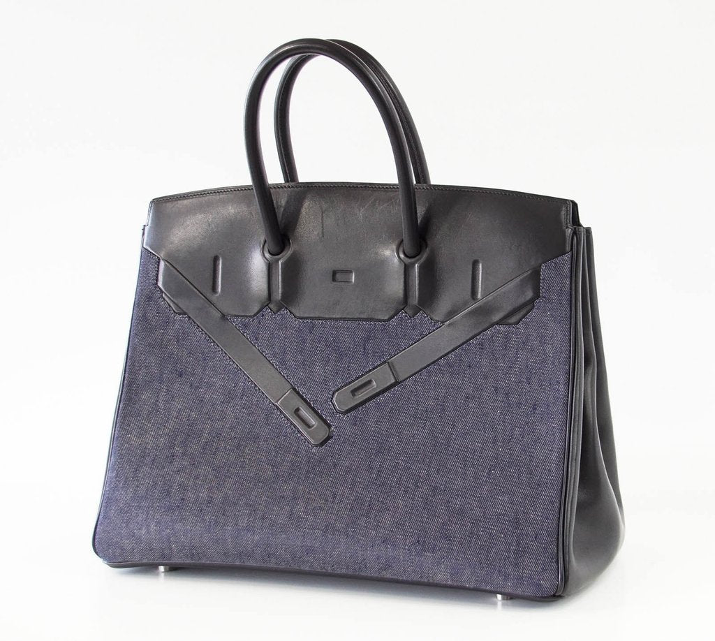 ab3b3fa8293 ... Hermes Birkin 35 Limited Edition Denim Shadow excellent front side  right ...