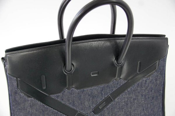 Hermes Birkin 35 Limited Edition Denim Shadow excellent front side top handles