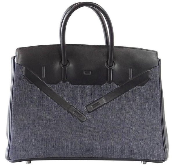 Hermes Birkin 35 Limited Edition Denim Shadow excellent front side front
