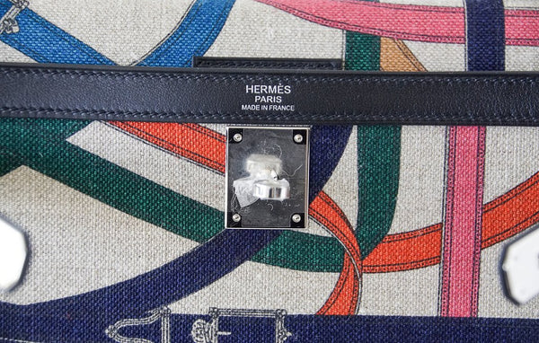 Hermes Kelly 32 Limited Edition Cavalcadour canvas noir swift palladium embossing