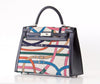 Hermes Kelly 32 Limited Edition Cavalcadour canvas noir swift palladium front side right