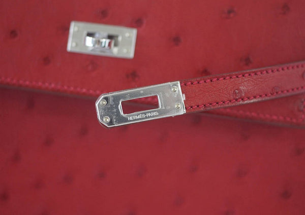 Hermes Kelly Sellier 25 Rouge Ostrich Palladium pristine clasp