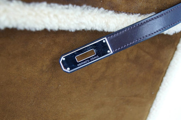 Hermes Kelly 35 Limited Edition Teddy Shearling brown sheepskin wool chevre palladium excellent clasp