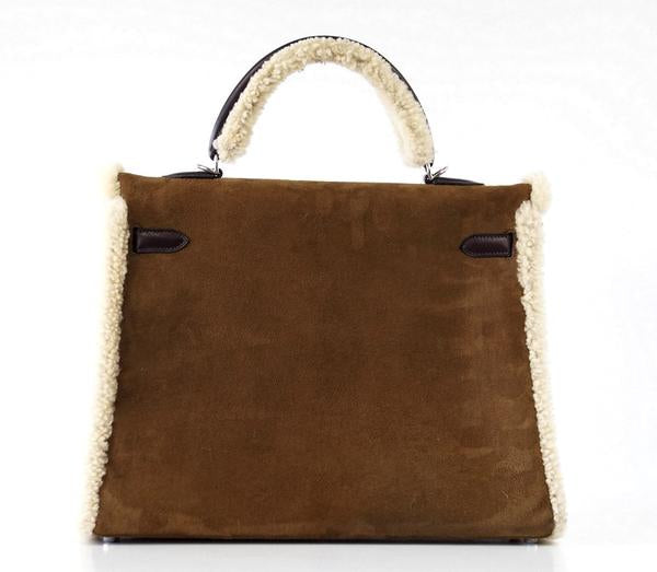Hermes Kelly 35 Limited Edition Teddy Shearling brown sheepskin wool chevre palladium excellent back