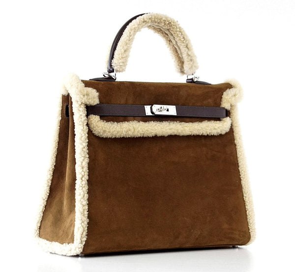 Hermes Kelly 35 Limited Edition Teddy Shearling brown sheepskin wool chevre palladium excellent front side