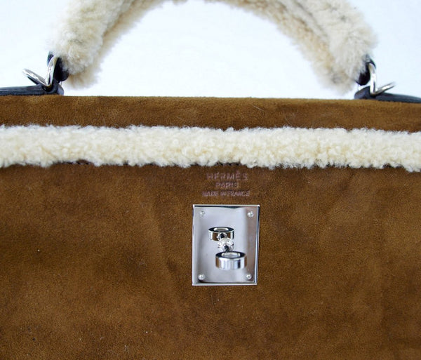 Hermes Kelly 35 Limited Edition Teddy Shearling brown sheepskin wool chevre palladium excellent embossing