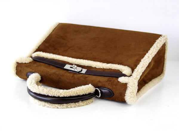 Hermes Kelly 35 Limited Edition Teddy Shearling brown sheepskin wool chevre palladium excellent handles