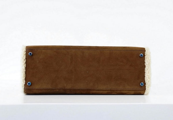 Hermes Kelly 35 Limited Edition Teddy Shearling brown sheepskin wool chevre palladium excellent bottom