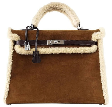 Hermes Kelly 35 Limited Edition Teddy Shearling brown sheepskin wool chevre palladium excellent front