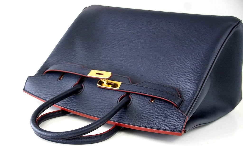 be53ca88f844 ... Hermes Birkin 35 navy rouge Limited Edition Epsom gold pristine front  top ...