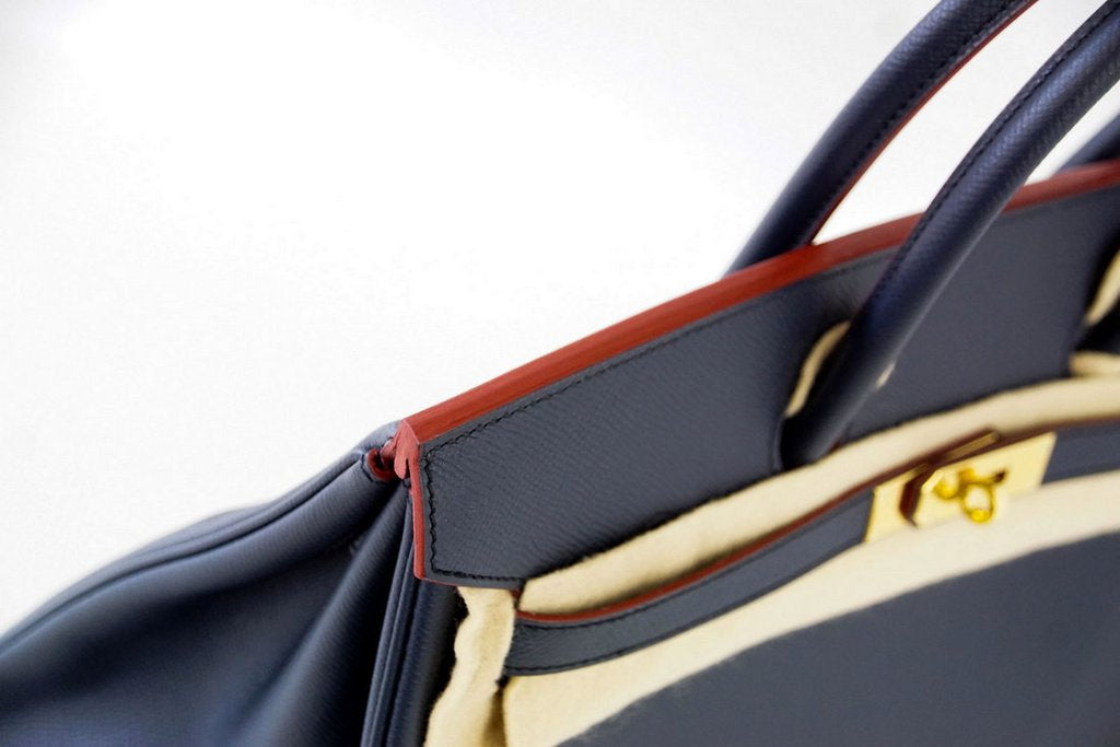 b87211a832d8 ... Hermes Birkin 35 navy rouge Limited Edition Epsom gold pristine  trimming ...