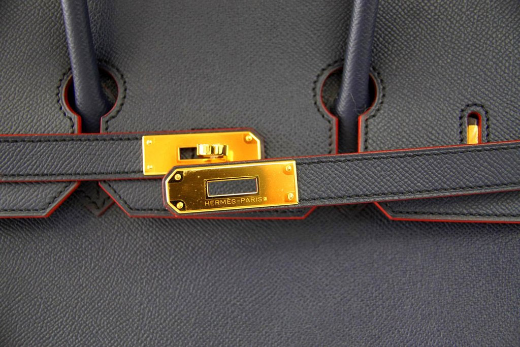 20312a5261d5 ... Hermes Birkin 35 navy rouge Limited Edition Epsom gold pristine clasp  ...