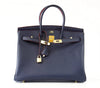 Hermes Birkin 35 navy rouge Limited Edition Epsom gold pristine front open