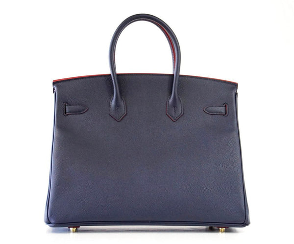 Hermes Birkin 35 navy rouge Limited Edition Epsom gold pristine back
