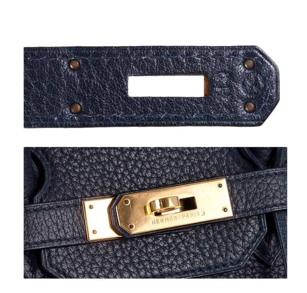 hermes birkin 35 navy used engraving stamp