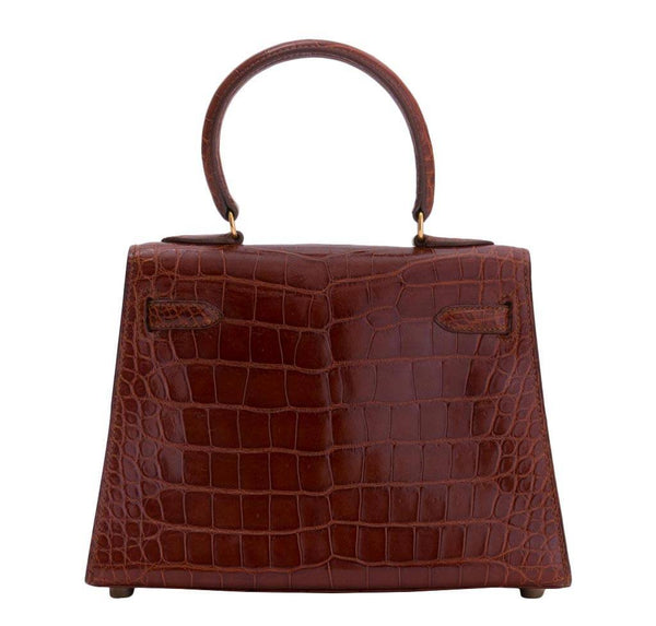 hermes mini kelly miel crocodile used back