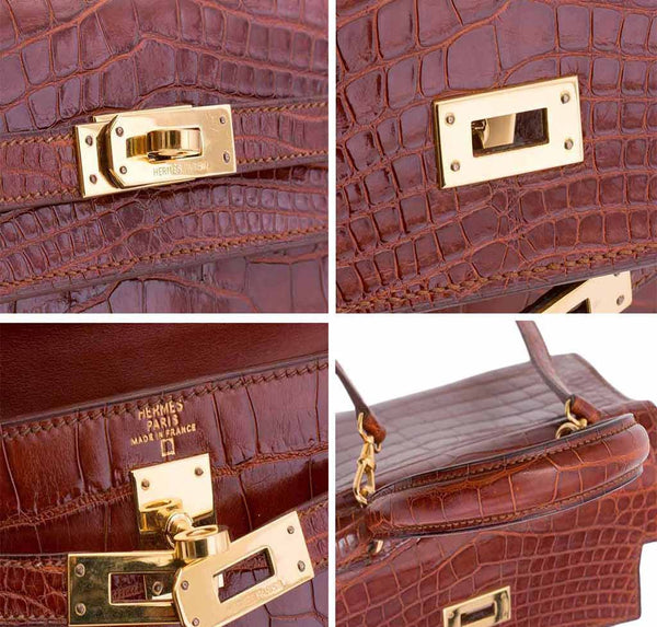 hermes mini kelly miel crocodile used engraving
