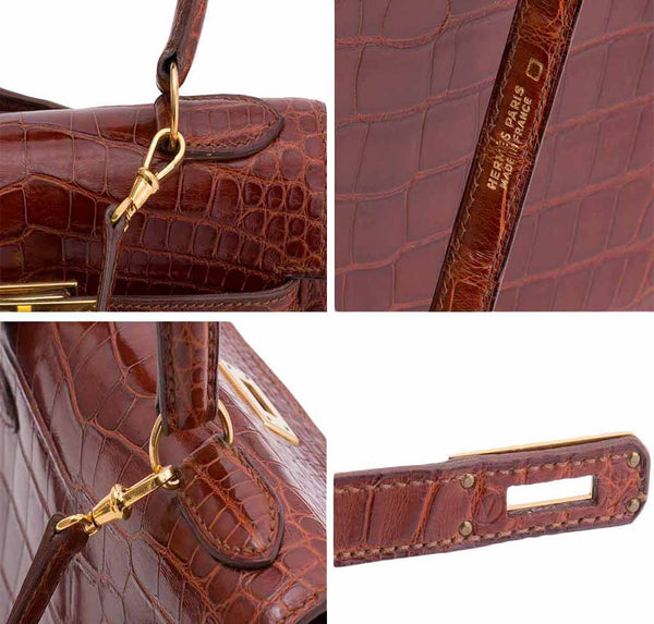 hermes mini kelly miel crocodile used detail