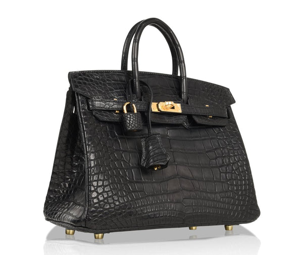 Hermes Birkin 25 Noir Alligator Bag gold pristine front side right