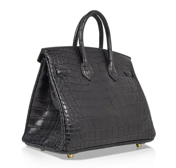 Hermes Birkin 25 Noir Alligator Bag gold pristine back side
