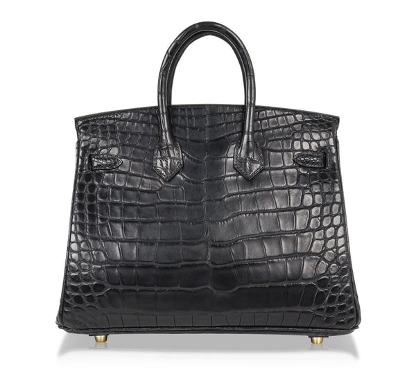 Hermes Birkin 25 Noir Alligator Bag gold pristine back