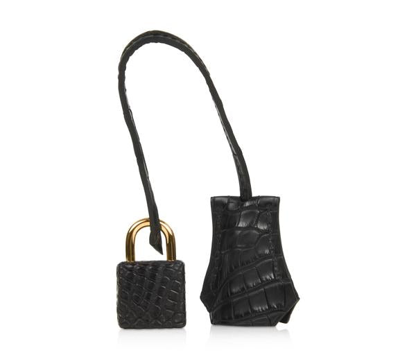Hermes Birkin 25 Noir Alligator Bag gold pristine lock keys clochette
