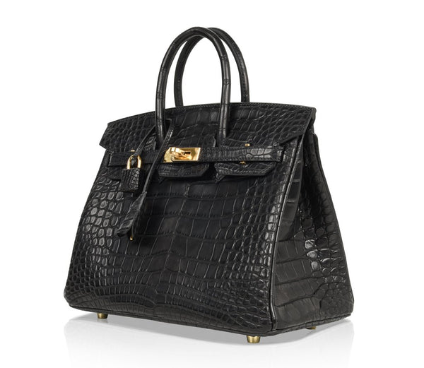 Hermes Birkin 25 Noir Alligator Bag gold pristine front side left