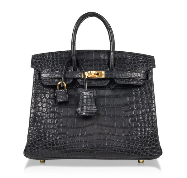 Hermes Birkin 25 Noir Alligator Bag gold pristine front