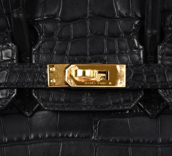 Hermes Birkin 25 Noir Alligator Bag gold pristine clasp engraving