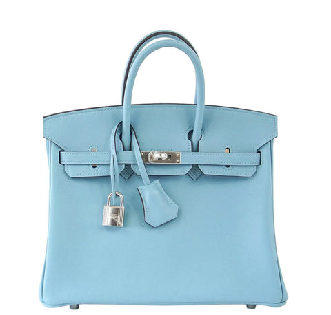 Hermes Birkin 25 Bag Blue Swift