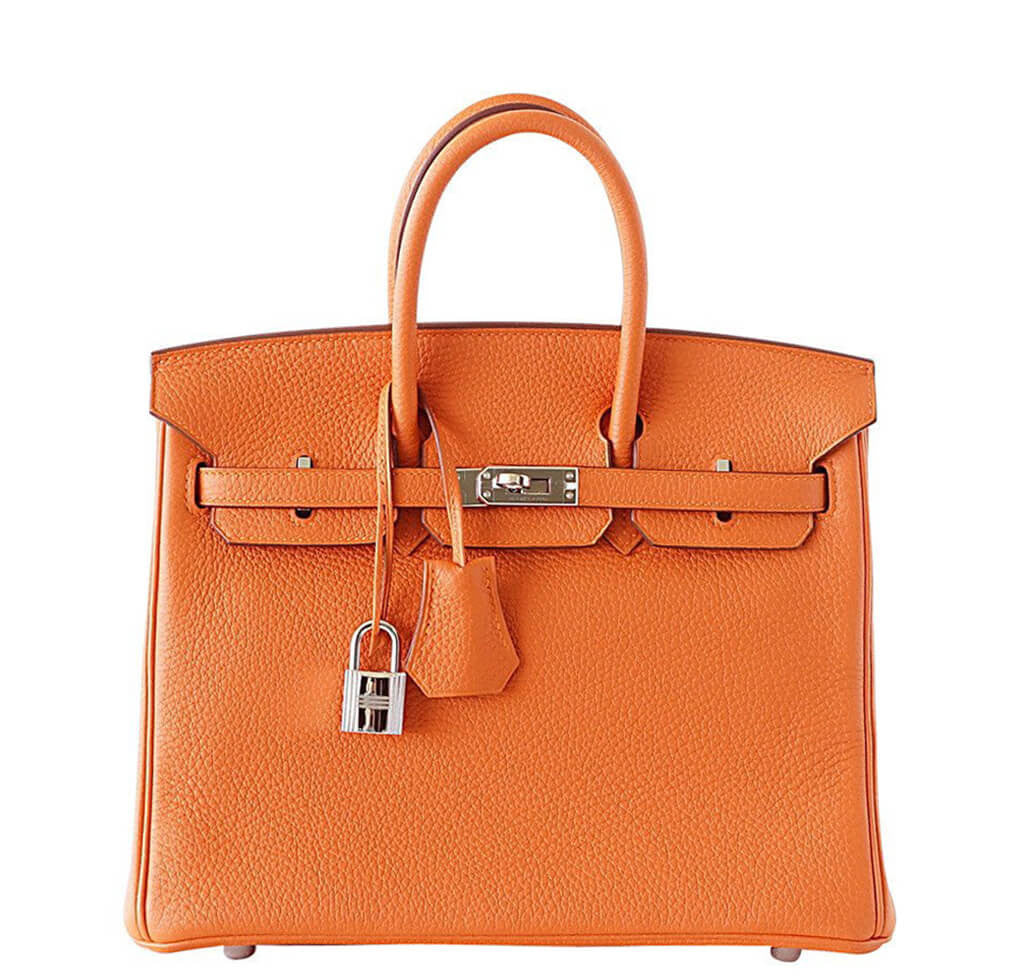 Hermès Birkin 25 Bag H Orange Togo Leather - Palladium Hardware ... 03bcfa1a86b93