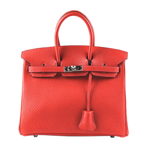 Hermes Birkin 25 Bag Vermillion Palladium