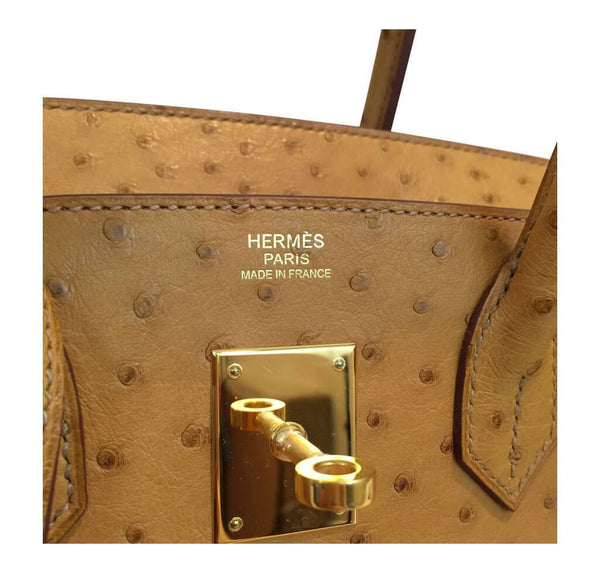 Hermes Birkin 30 Gold Ostrich Used Embossing