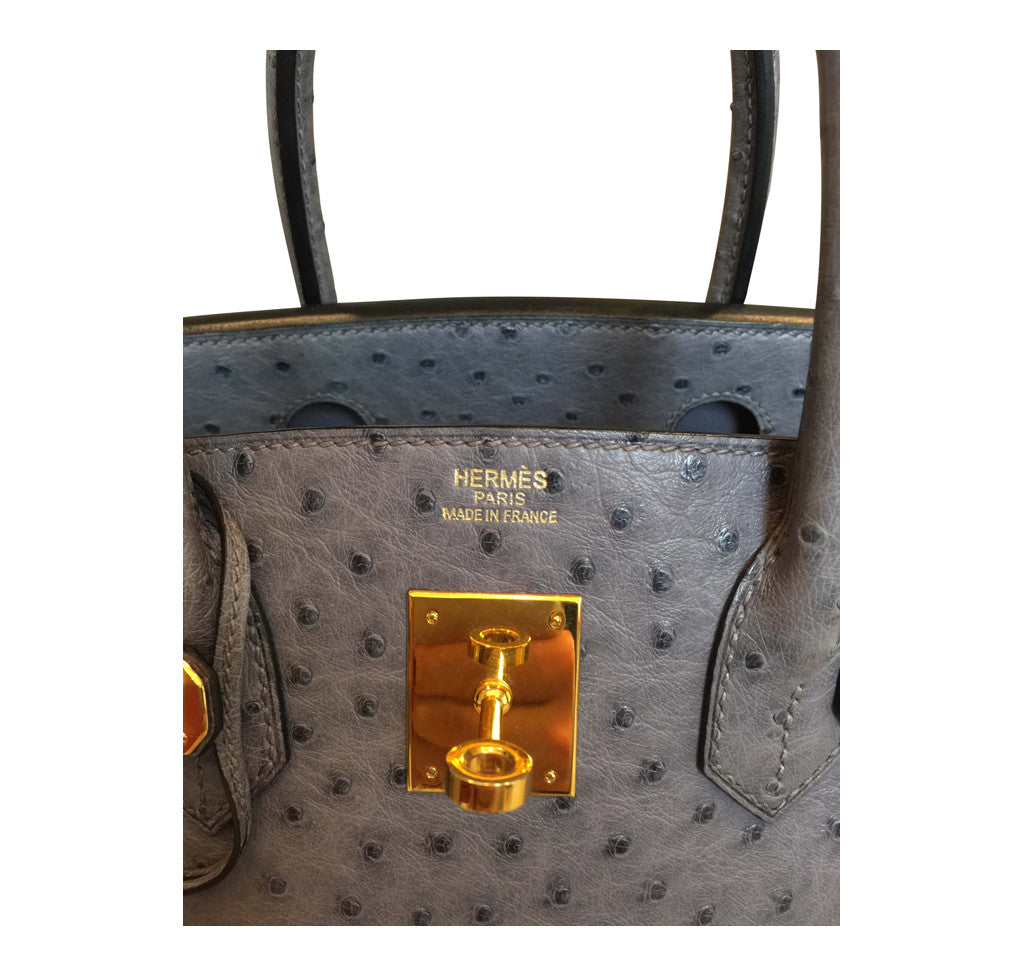 11ecb50ed358 ... Hermes Gris Agate Ostrich Birkin gold excellent embossing ...