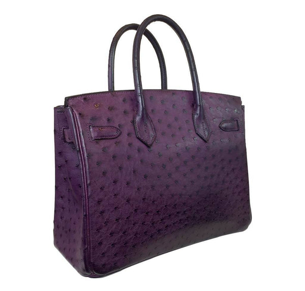 hermes birkin 30 ostrich raisin used back