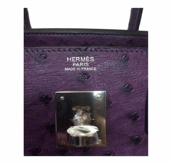 hermes birkin 30 ostrich raisin used embossing